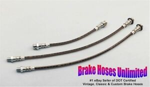 Stainless Brake Hose Set Ford Car All Models 1939 1940 1941 1942 1946 1947 1948