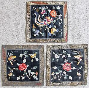3 Chinese Embroidery Silk Rank Badge Style Panels With Butterflies