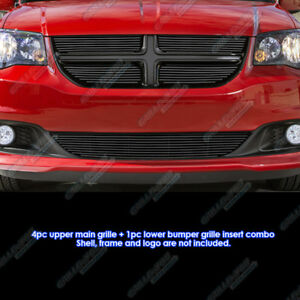 Fits 2011 2013 Dodge Grand Caravan Black Billet Grille Grill Comnbo Insert