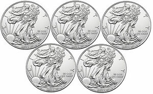 Lot of 5 - 2015 1oz Silver American Eagle $1 Coin