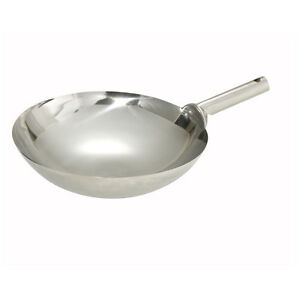 Winco Wok 16w 16 inch Mirror Finish Stainless Steel Chinese Wok With Welded Joi