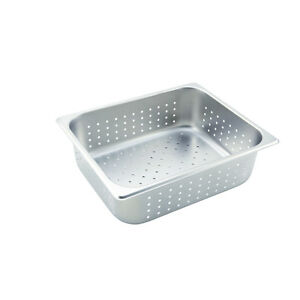 Winco Sphp4 4 inch Deep Half size Stainless Steel Perforated Steam Table Pan