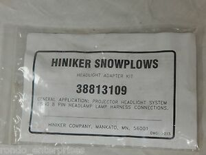 Hiniker Snowplow Headlight Adapter Kit 38813109 Ford Chevy Dodge
