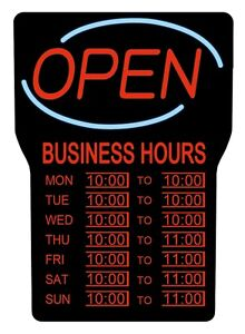 Royal Sovereign Rsb 1342e Led Open With Business Hours Sign English Open Sign