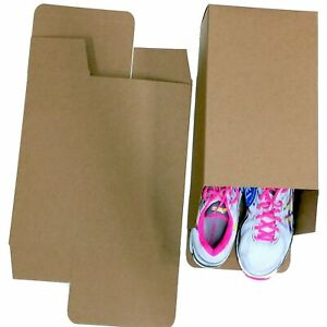 50 Large Shoe Box Reverse Tuck Cartons 13x8x5 Kraft Brown Folding Chipboard