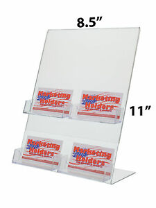Lot Of 12 Clear 8 5 X 11 Acrylic Table Tent With 4 Business Card Holders