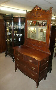 Antique Old Finish Oak Dresser With Heavy Applied Carvings 81 5in Tall