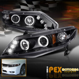 For 06 11 Honda Civic 4dr Sedan Twin Halos Projector Led Headlights Black