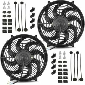 Dual 14 Inch Electric Fans 12v Auto Radiator Cooler Fan 90w Motor High 2700 Cfm
