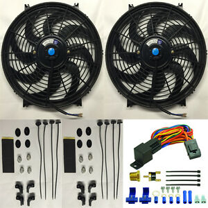 Dual 14 Inch 12v Slim Electric Fan 185 Deg Thermostat Relay Kit Sensor