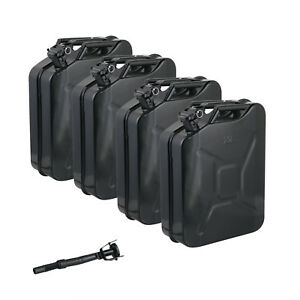 4 Jerry Cans 20 Liters 5 Gallons Backup Steel Tank Fuel Gas Gasoline Black