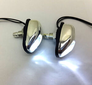 2 X Chrome White Led Light Windshield Jet Spray Nozzle On Hood Wiper Washer Eyes
