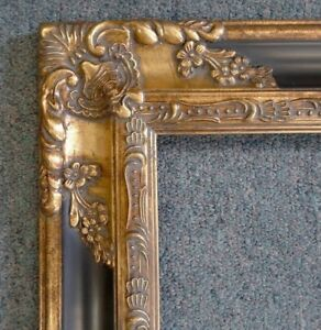 Picture Frame 12x16 Vintage Antique Style Baroque Dark Gold Black Ornate 1238