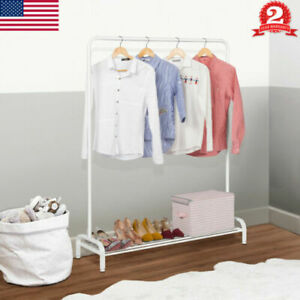 Heavy Duty Garment Rack Adjustable Double Rail Rolling Organizer Shelf Hanger Us