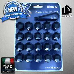 20 New 17mm Hex Black Cap Covers Fasteners Lug Bolts Nuts Mercedes Wheel Italy