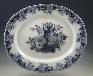 Xix Century Mayer And Elliott Flora Large Platter Black Transferware Cherubs