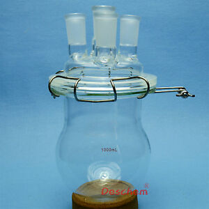 1000ml 24 40 glass Reaction Reactor 4 necks 1l reaction Vessel W lid And Clamp