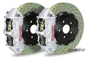Brembo Front Gt Brake Bbk 6 Piston Silver Caliper 380x34 Drill Disc Audi S3 15
