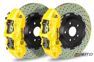 Brembo Front Gt Brake Bbk 6 Piston Yellow Caliper 380x34 Drill Disc Audi S3 15