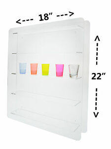 Lot Of 12 Clear 24 Shot Glass Acrylic Wall Mount Side Loading Display Case Rack