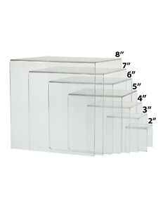 Clear Acrylic Cube Counter Top Riser Jewelry Makeup Display Full Set Of 7