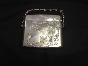 Antique Victorian Sterling Silver Card Case Birmingham Circa 19th Century