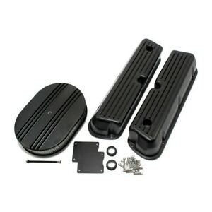 Sbf Ford 302 351w Ford Finned Black Coated Aluminum Valve Covers Air Cleaner Kit