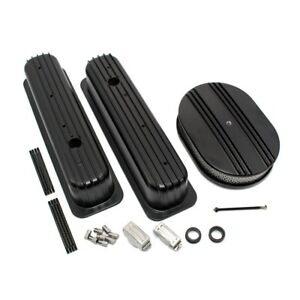 Sbc 5 7l 350 Finned Black Coated Tbi Vortec Aluminum Valve Covers W Air Cleaner