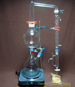 Essential Oil Steam Distillation Apparatus us 110v Hot Plate w allihn Condenser