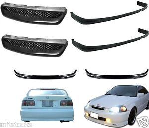 2x For 96 98 Civic 2 4 Dr Pu Black Add on Front Rear Bumper Lip Hood Grill