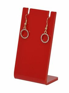 Earring Necklace Jewelry Red Acrylic Display Stand Holder Earing Lot Of 24