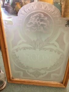 Antique Old Vintage Craftsman Art Deco Style Etched Glass Window Oak Tree Room