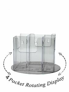 Lot Of 6 Clear Acrylic 4 Pocket Tri fold Brochure Rotating Display Spinning Rack