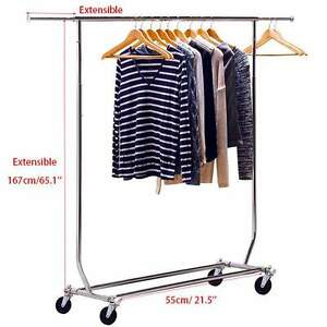 Commercial Grade Rail Rolling Salesman s Collapsible Garment Sales Rack Steel Us