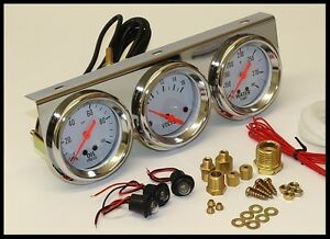 Universal 2 5 8 Oil Pressure Water Voltage Volt Triple Gauge Set Gauges 5753