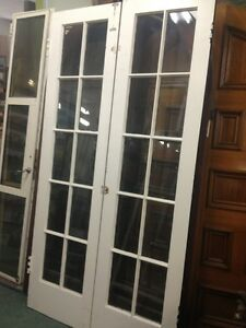 Old Antique Vintage 10 Light Wood French Doors