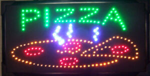 Pizza Sign W Led Lights Restaurant Supplies Decor Food Window Advertising New