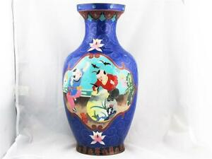 Beautiful Rare Large Vintage Chinese Cloisonne On Ceramic Blue Vase Silver Wire