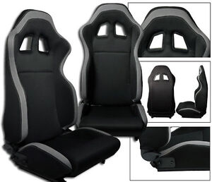 New 2 Black Gray Cloth Racing Seats Reclinable W Sliders For Chevrolet