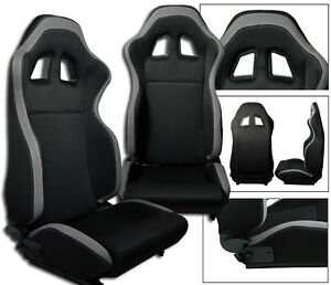 2 Black Gray Cloth Racing Seats Reclinable W Stitched Logo All Scion