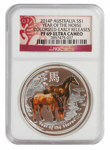 2014 NGC PF69 1oz Australian Silver Proof Colored Horse - Early Release/Red L...