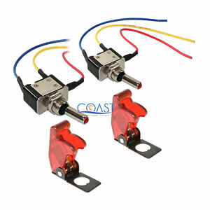 2x Car Home Heavy Duty Clear Red Led Metal Toggle Switch On Off 6 Wire W Cover