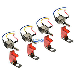 4x Car Home Heavy Duty Clear Red Led Metal Toggle Switch On off 6 Wire W cover