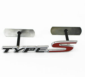 3d Metal Black Red Type S Emblem Badge Bolt Fixed Car Suv Grille For Honda Acura