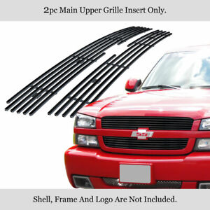 Fits 2002 2005 Chevy Silverado 1500 avalanche Main Stainless Black Billet Grille