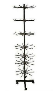 Black Seven Levels Spinning Store Floor Display Rack Metal Wire With Wheels New