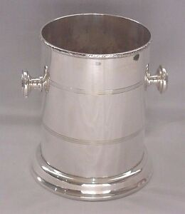 Deco Silverplate Champagne Wine Bottle Coaster Holder Bucket With Handles 6 50