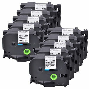10pk 24mm Tz 251 Tze251 Black On White Label Tape For Brother P touch Pt2730