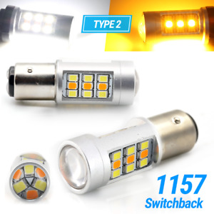 Type 2 White Amber 1157 Led Drl Switchback Turn Signal Parking Light Bulbs