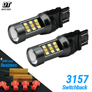 White Amber 3157 Led Drl Switchback Turn Signal Parking Light Bulbs Resistors